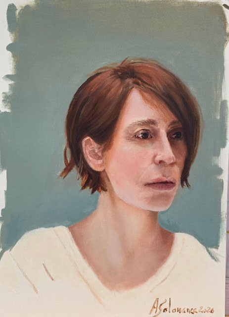 2020 Retrato oleo sobre papel de 32x24 cms