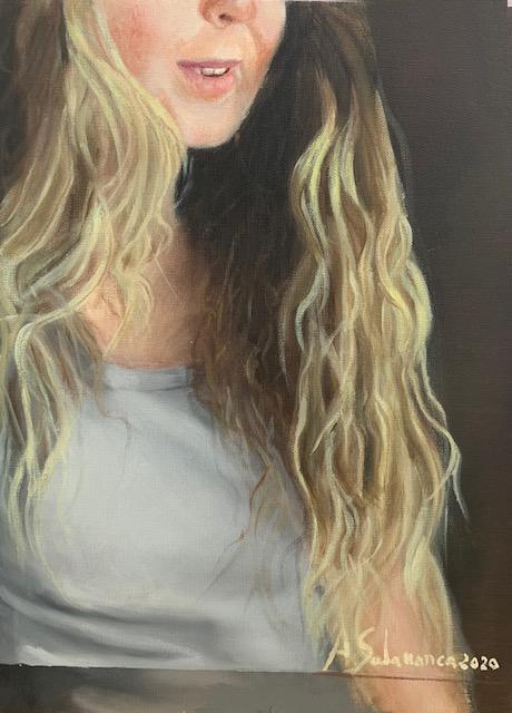 Retrato, óleo sobre papel de 32x24 cm